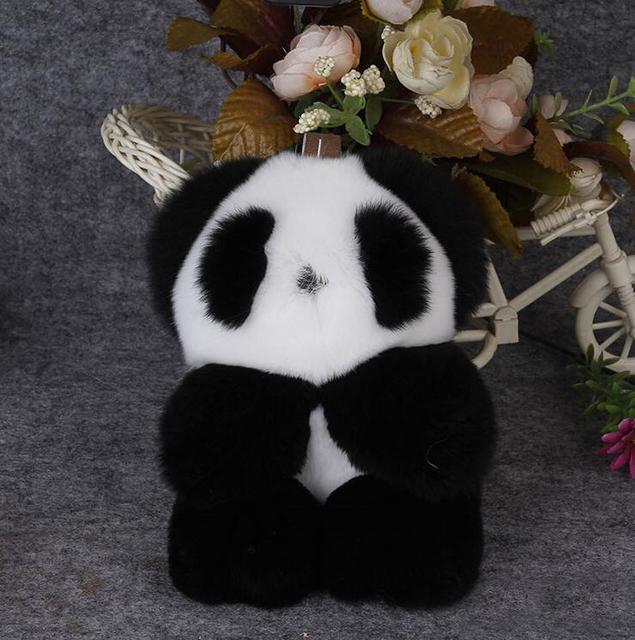2017 Nova Moda Jogo Carro Coelho Morto panda Vermelho Chaveiro Rex Rabbit Fur Pom Pom Keychain Saco Carro Pendurado Pingente de Jóias 12Col
