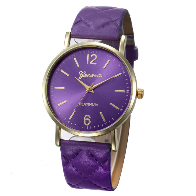 2018 Top Brand Geneva Watch Women Casual Roman Numeral Watch For Female PU Leath