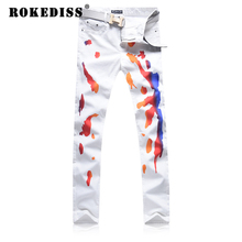 White fashion Printing design Men Leisure jeans Zipper closure Fake designer clothes pantalones hombre vaqueros mens