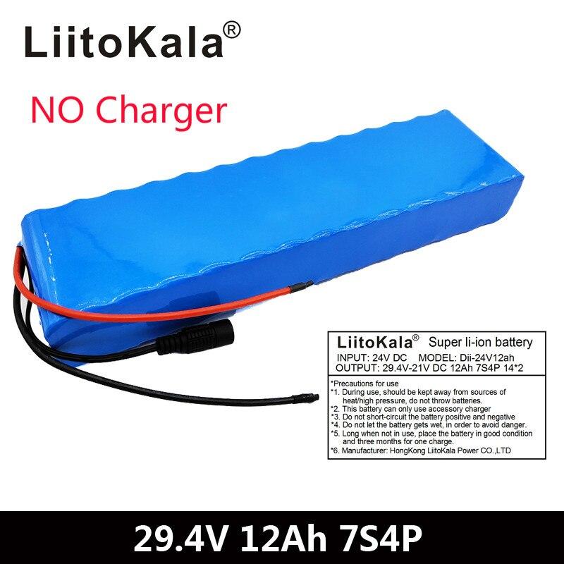 LiitoKala 7S4P 29,4 v 12Ah bicicleta eléctrica motor ebike scooter 24v Paquete de batería de iones de litio 18650 baterías de litio recargables 15A IMAX RC B3 Pro Compact 2S 3S cargador de equilibrio batería LiPo de litio para helicóptero, enchufe de UE/enchufe de EE. UU.