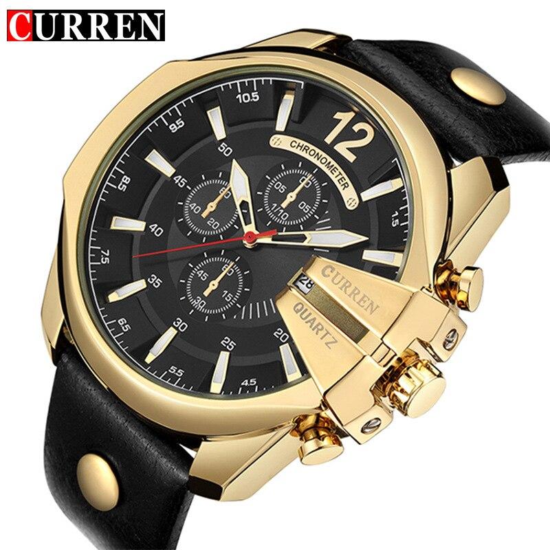 man watches CURREN brand mens business watches genuine leather waterproof calendar men's watch luxury gold black