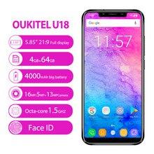 Original OUKITEL U18 Mobile Phone 5.85 inch Full Display 4GB RAM 64 ROM MT6750T Octa Core Android 7.0 4000mAh Face ID Smarphone
