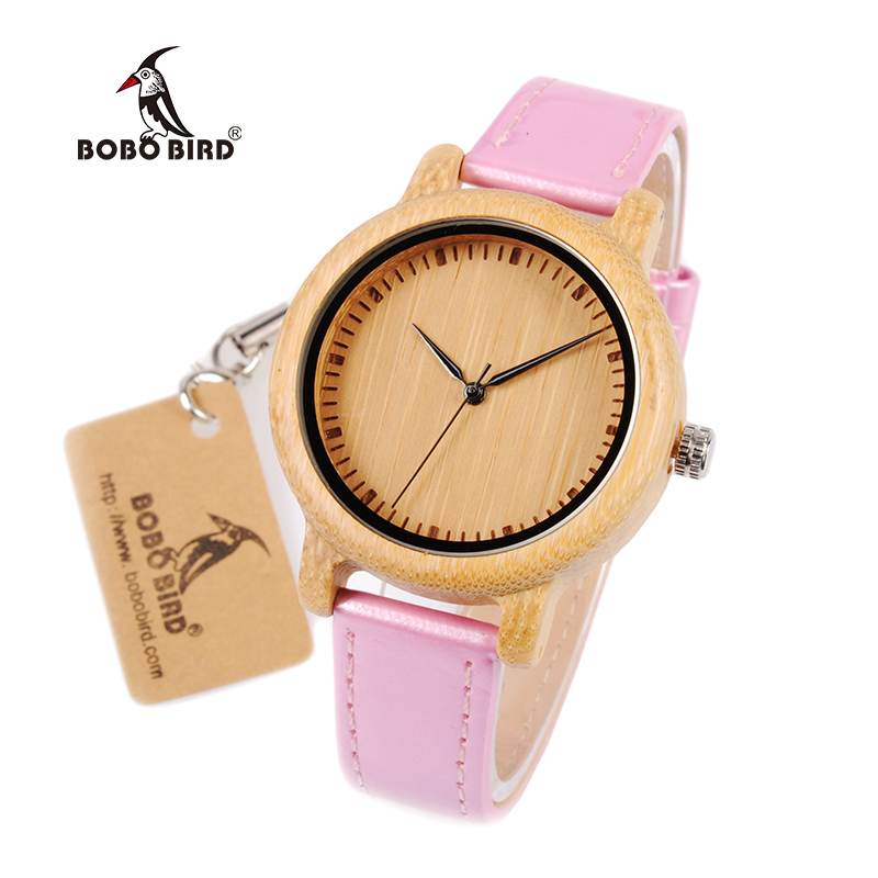 BOBO BIRD WJ08 Bamboo Watch for Women Simple Pink PU Leather Band Quartz Watch Gril Ladies