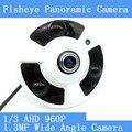 HD de 1.3MP 960 P 360 Graus Wide Angle Fisheye Câmera Panorâmica Câmera de CCTV AHD Câmera de Vigilância de Infravermelho Dome Câmera de Segurança