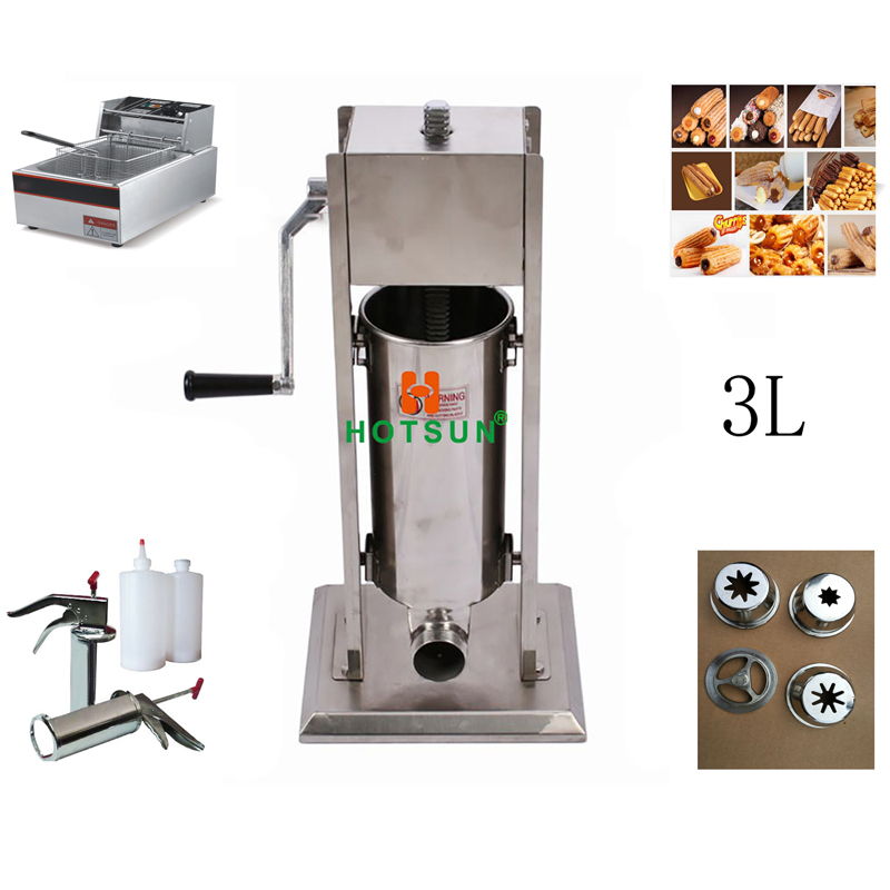Free Shipping 3L Manual Spanish Donut Churros Machine W 6L Deep Fryer N 700ml Filler free shipping commercial heavy duty 5l manual spanish donuts churreras churros maker machine w 12l fryer n 700ml filler