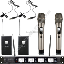 MICWL UHF 400 Channel Adjustable frequency Wireless Digital Microphone System 2 Handheld Lavalier