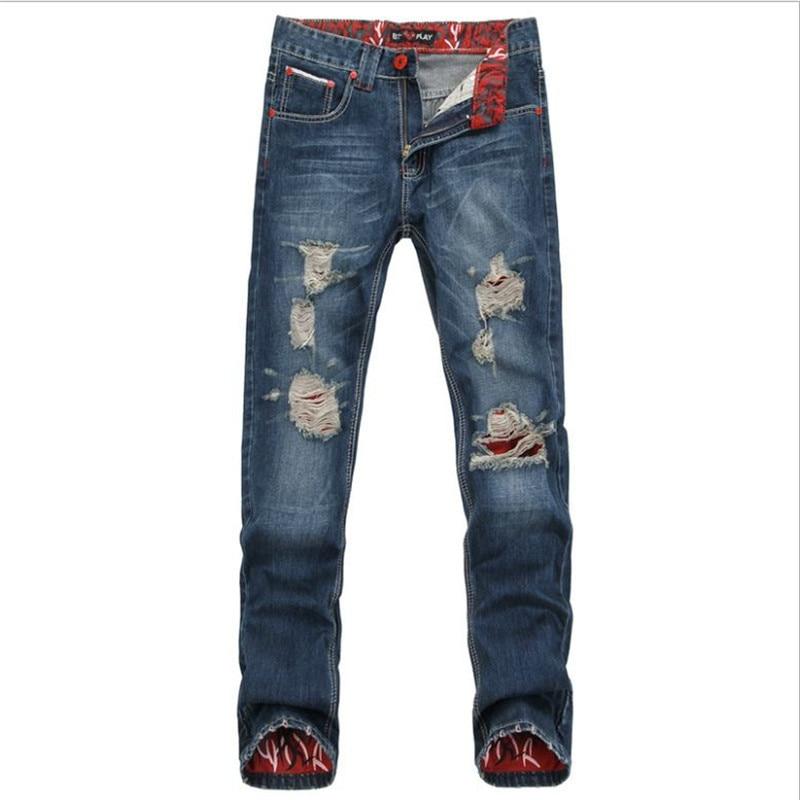 Western vintage style Men Fashion wear Hole Straight Jean Pants Mid Waist Cotton Stretch Trousers Leisure mens Skinny Jeans