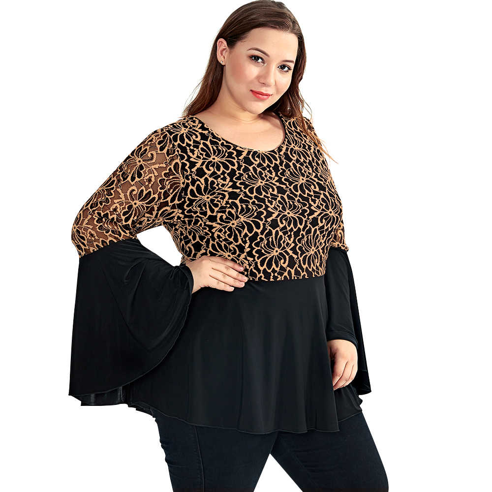 5655f7173e861 ... YTL Women Plus Size Tunic Retro Gold Lace Top V Neck Patchwork Flare Sleeve  Blouse Spring ...