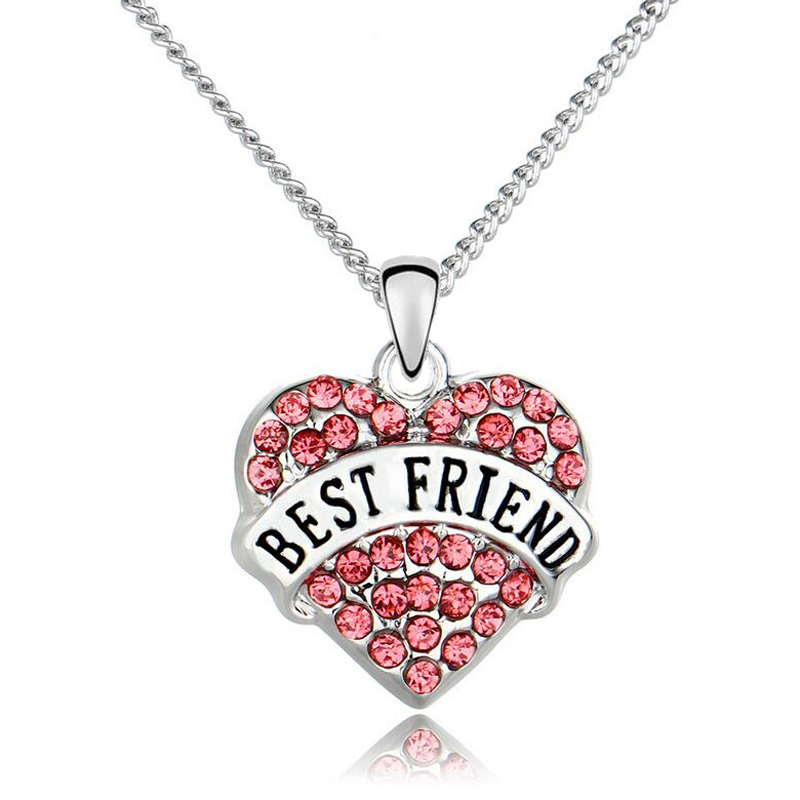 DIY Friendship Letters Neklace For Women and Men Gift Crystal Heart Necklace For Best Friends Gifts