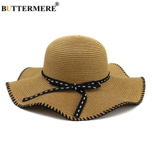 BUTTERMERE Ladies Sun Hat Ruffle Khaki Fisherman Bowknot Spring Summer Fashion Brand Beach Straw For Woman
