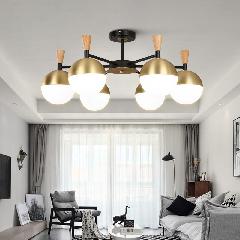 Post-modern Chandelier Nordic Deco Lighting Glass Ball Fixture Novelty Living Room Hanging Lights Restaurant Lamps Chandeliers Catalogues Will Be Sent Upon Request Lights & Lighting Chandeliers