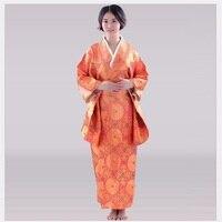 Floral Female Traditional Kimono Sexy Yukata With Obi Performance Dance Clothing Japanese Cosplay Costume One Size