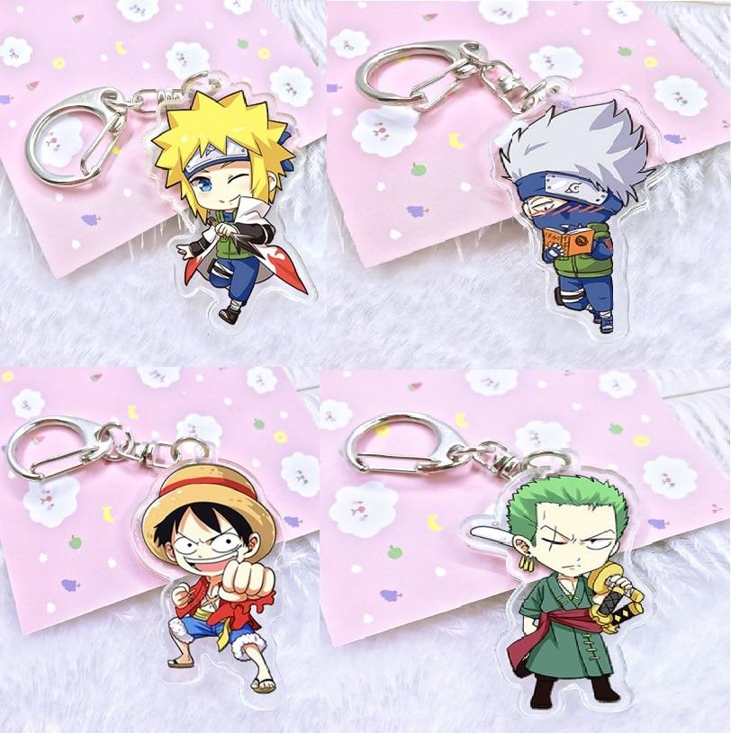 Japan Anime One Piece Action Figure Luffy Zoro Acrylic Bright Color Key Ring two-sided Figurine Naruto Uzumaki Kakashi Keychian