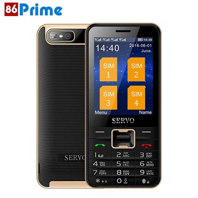 Оригинальный серво V8100 2.8 дюймов мобильный телефон 4 sim-карты сотовые телефоны Bluetooth фонарик MP3 GPRS русский Язык клавиатура
