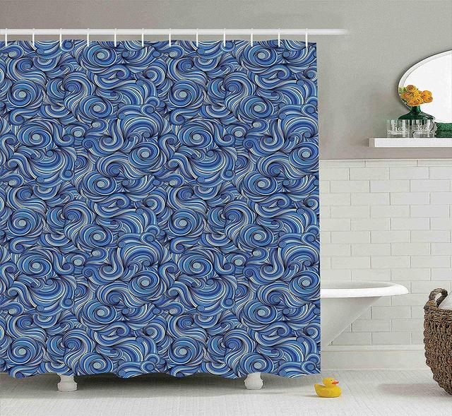 Navy Blue Shower Curtain Asian Abstract Ocean Waves Water H Drawn Sy Colors Aquatic Fashion
