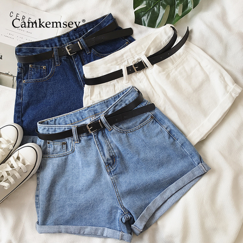 CamKemsey Hot Girls Summer Classic High Waist Denim Shorts 2019 Fashion Hemming Cuffed Casual White Blue Jeans Shorts With Belt