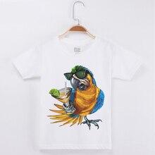 Kids T-Shirts For Girls Parrot/Bird Print Cotton Basic White Tshirt Boys Short Sleeve T Shirts Girl Clothes Boy Tops Tees Shirt стоимость