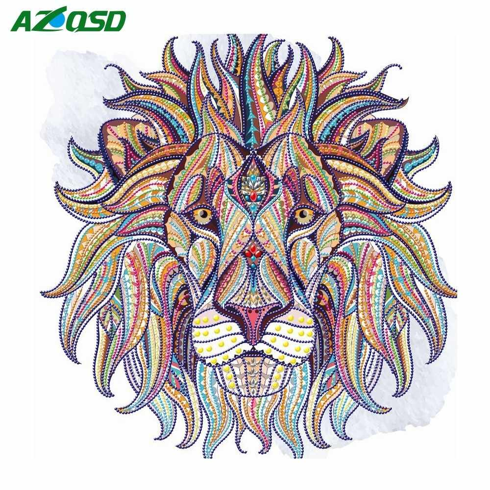 AZQSD Special Shaped Diamond Embroidery Animal Diamond Painting Cross Stitch Lion DIY Mosaic Bead Picture Unfinished Full Kits