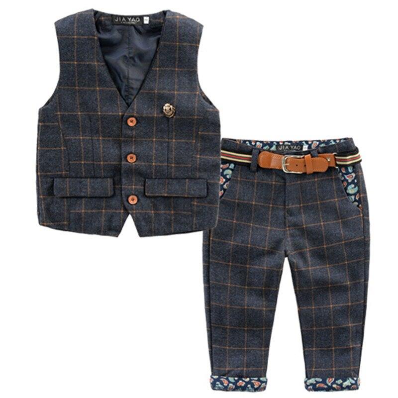 Children's Wear 2019 Autumn New Boys British Wind Set Children's Plaid Vest+Trousers With Belt Gentleman Suit