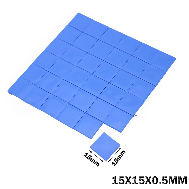 100PCS Lot  15x15 X 0.5MM  Blue Silicone  IC Chip Conduction Thermal Paste Compounds Heatsink Thermal Pads