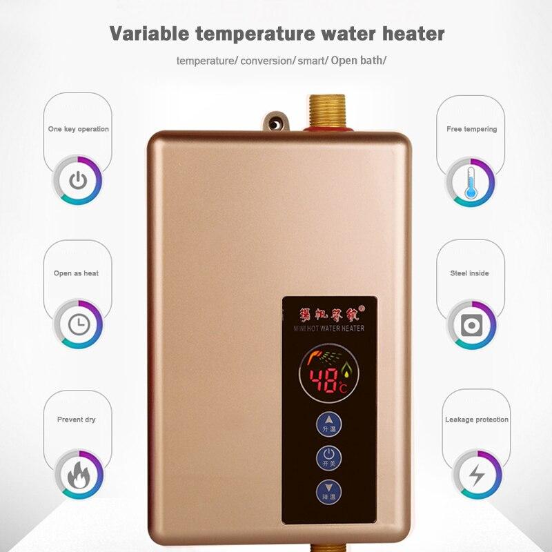 Kbxstart grifo calentador de agua eléctrico cocina baño hogar calentador de agua verano caliente inteligente ducha caliente - 3