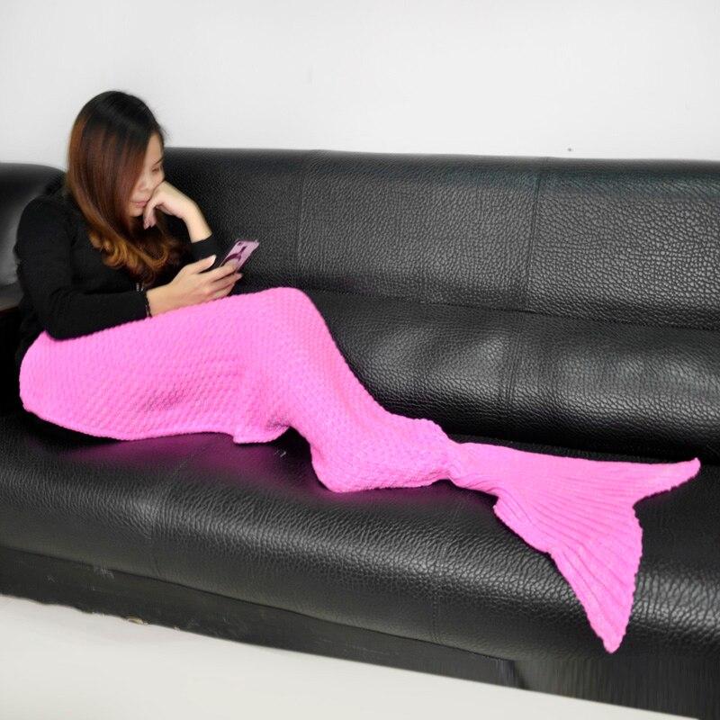 Children Yarn Knitted Mermaid Tail Crochet Blanket For Kids Bedroom ...