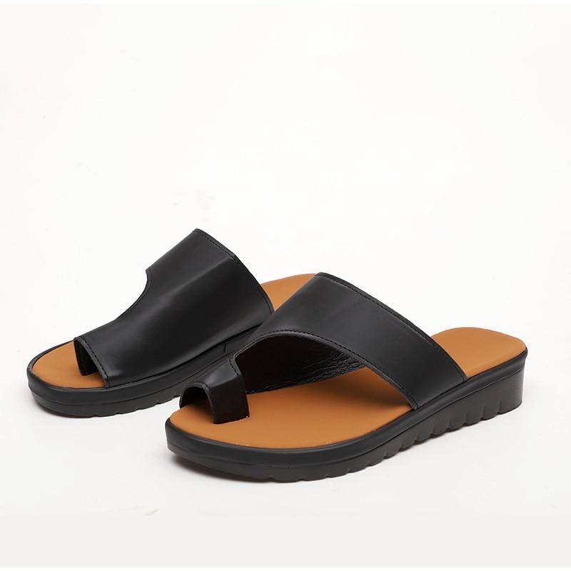 HTB1QGLJawKG3KVjSZFLq6yMvXXau MCCKLE Women Comfy Plain Shoes Flat Platform Ladies Casual Big Toe Foot Correction Sandals Orthopedic Bunion Corrector Flip Flop