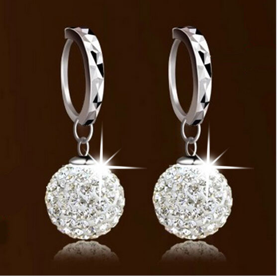 Brand New Austrian Crystal Shamballa Disco Ball Dangle Earrings 925 Sterling Silver Wedding Jewelry For