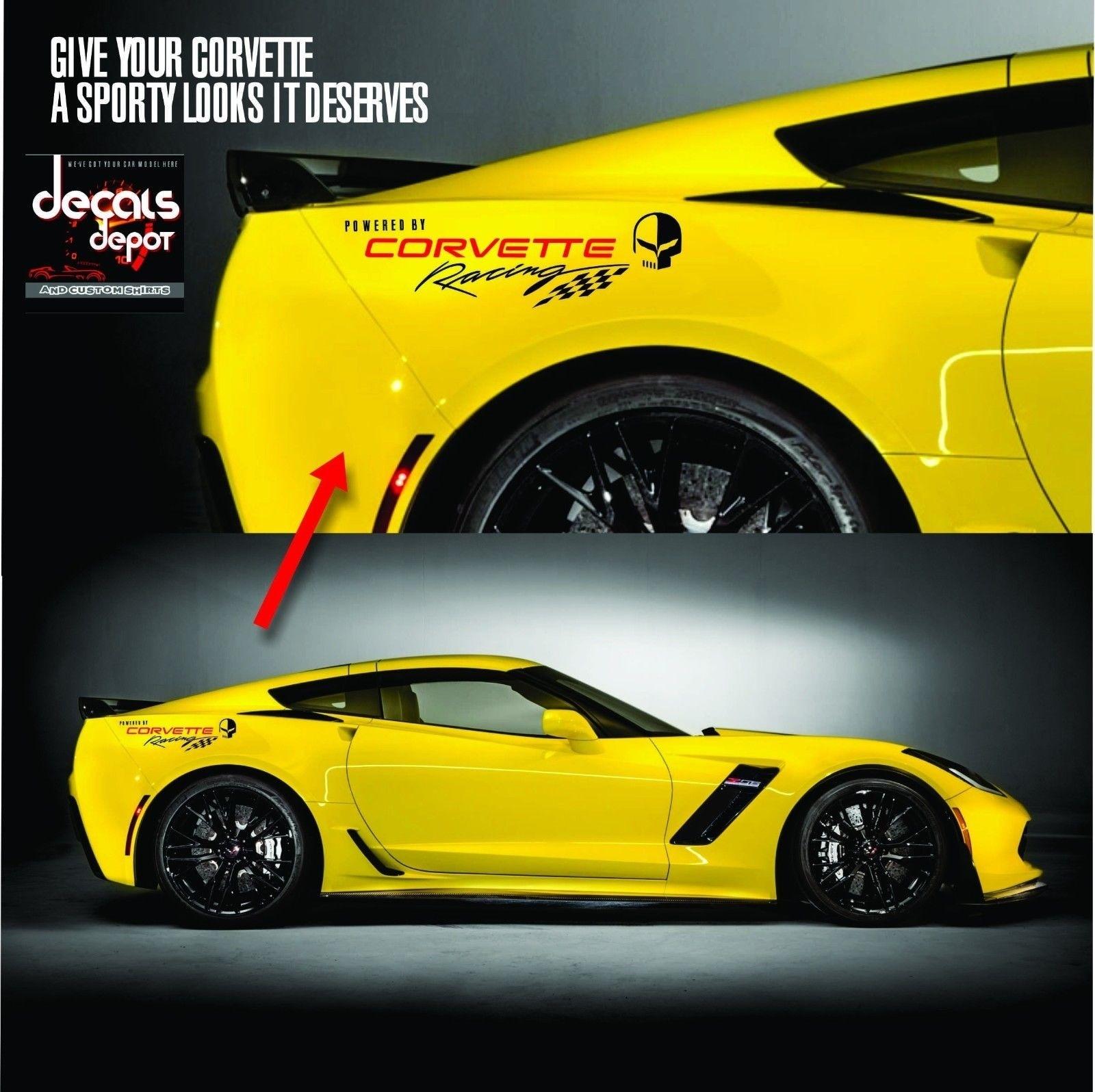 For Corvette Racing 1 pair logo Vinyl Graphic Decals C3 C4