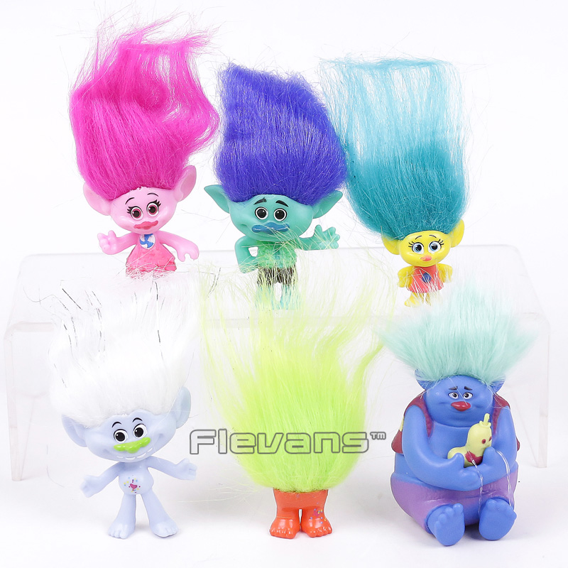Trolls Poppy Branch Toys Dolls 6pcs/set Mini PVC Figures Kids Childrens Gifts