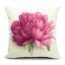 Hot Sale Pillow Covers Elegant Flower Rose Pattern New Fashion Design 45X45CM Linen Pillow Cover  Home Decorative cushion case