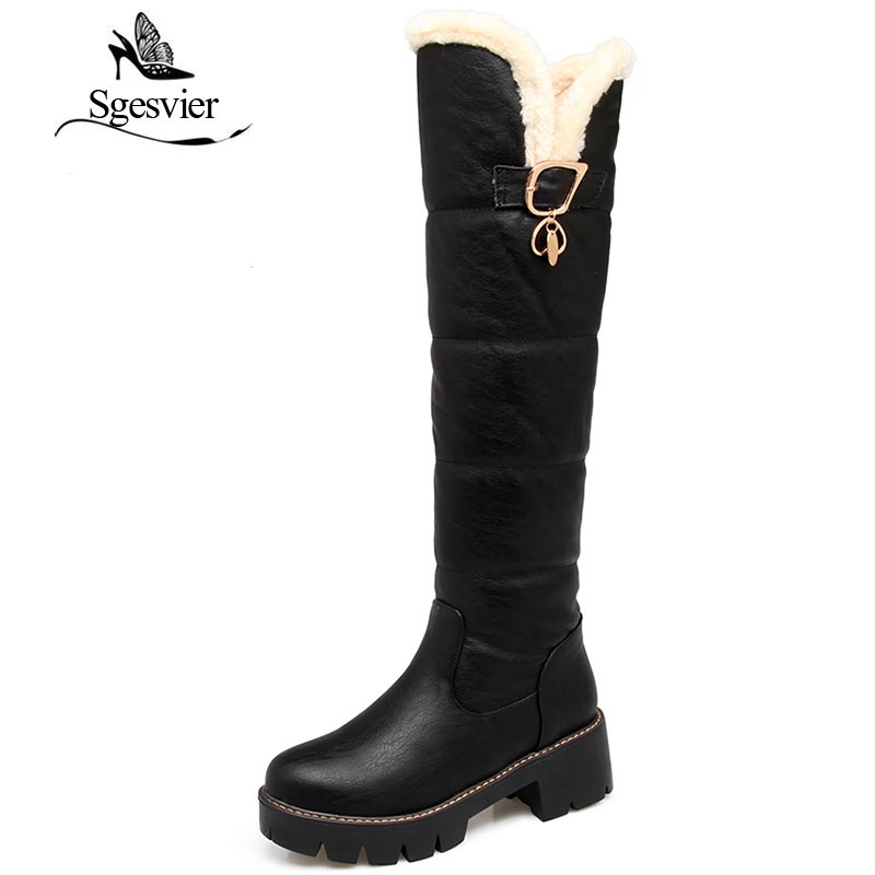 SGESVIER Knee High Boots Shoes Woman Round Toe Square Heel Warm Fur Lining Black White Red Boots Winter Botas Size 34-43 OX157 sgesvier women boots snow boots 2017 winter platform heel casual knee high round toe buckle flat size 34 43 lady shoes ox098