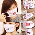 Women Girls Health Care Cute Anime Kaomoji-kun Emotiction Mouth-muffle Kawaii Cotton Anti-Dust Winter Face Mask White Color