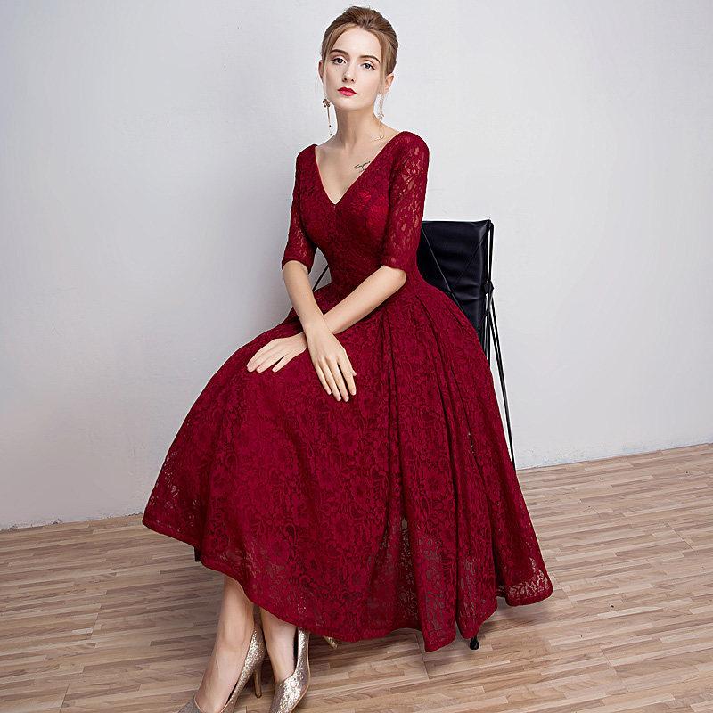 Hot Sexy V-neck A-line Half Sleeve Lace Embrvintage Evening Dresses Party Prom Evening Dress Plus Size F