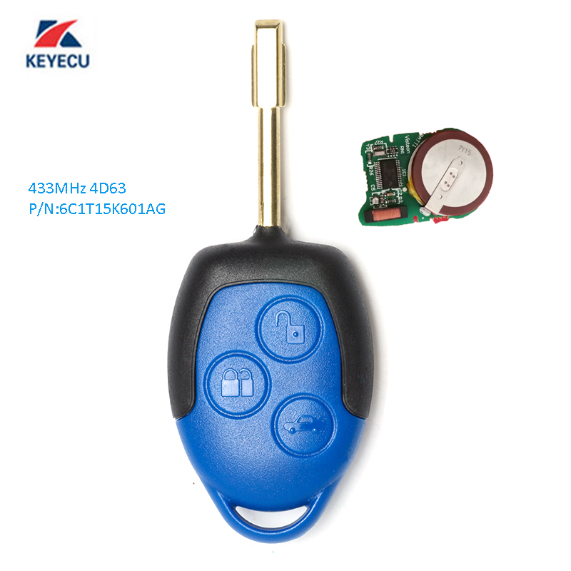 KEYECU Replacement Remote Key 3 Button 433MHz 4D63 for Ford Transit WM VM 2006-2014 6C1T15K601AG Uncut FO21 Blade