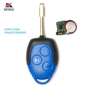 KEYECU Replacement Remote Key 3 Button 433MHz 4D63 for Ford Transit WM VM 2006-2014 6C1T15K601AG Uncut FO21 Blade - DISCOUNT ITEM  10% OFF All Category