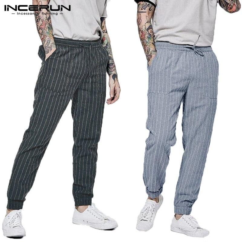 INCERUN Europe America Drawstring Sports Men Pants Pocket Hip Hop Jogging Straight Pants Fashion Stripe Pinstripe Trousers 2019
