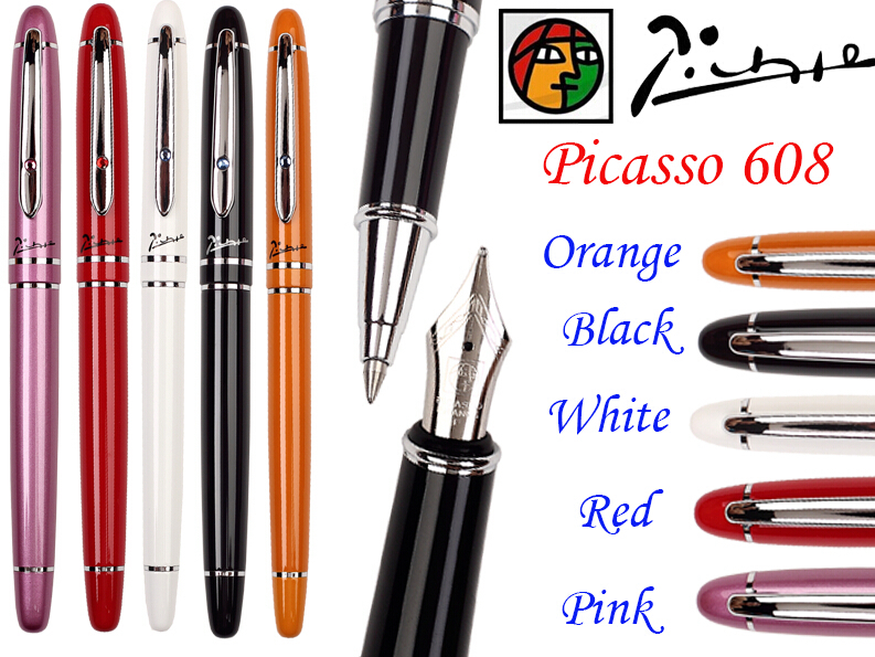 Fountain Pen M Nib or Rollerball Pen M Tip 5 Colors to Choose PICASSO 608  the best gift Free Shipping fountain pen curved nib or straight nib to choose hero 6055 office and school calligraphy art pens free shipping