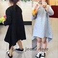 Nueva moda Swallow tail vestido para bebé niña Vestidos algodón niños Vestidos ropa linda negro y gris 2 Color