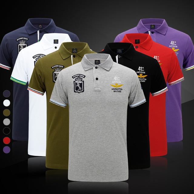 Aeronautica Militare hombres del Verano Top Camisetas 100% Algodón Air Force One Camiseta Ocasional Bordado Camisas Hombres Camisa Militar