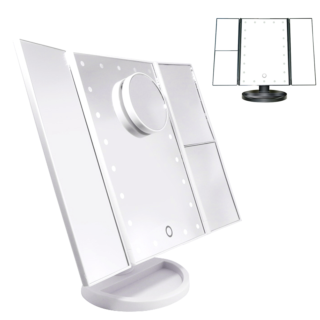 Table Desktop Makeup 1X 2X 3X 10X Magnifying Mirrors Folding Adjustable Mirror LED Touch Screen 22