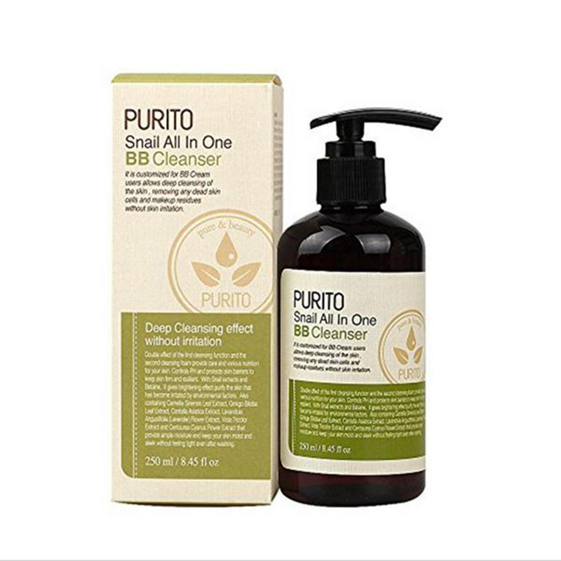 Best Korea Cosmetics PURITO Snail All In One BB Cleanser 250ml Facial Cleanser Oil Snail Repair Face Care Moisturizing Skin Care high quality precision skin analyzer digital lcd display facial body skin moisture oil tester meter analysis face care tool