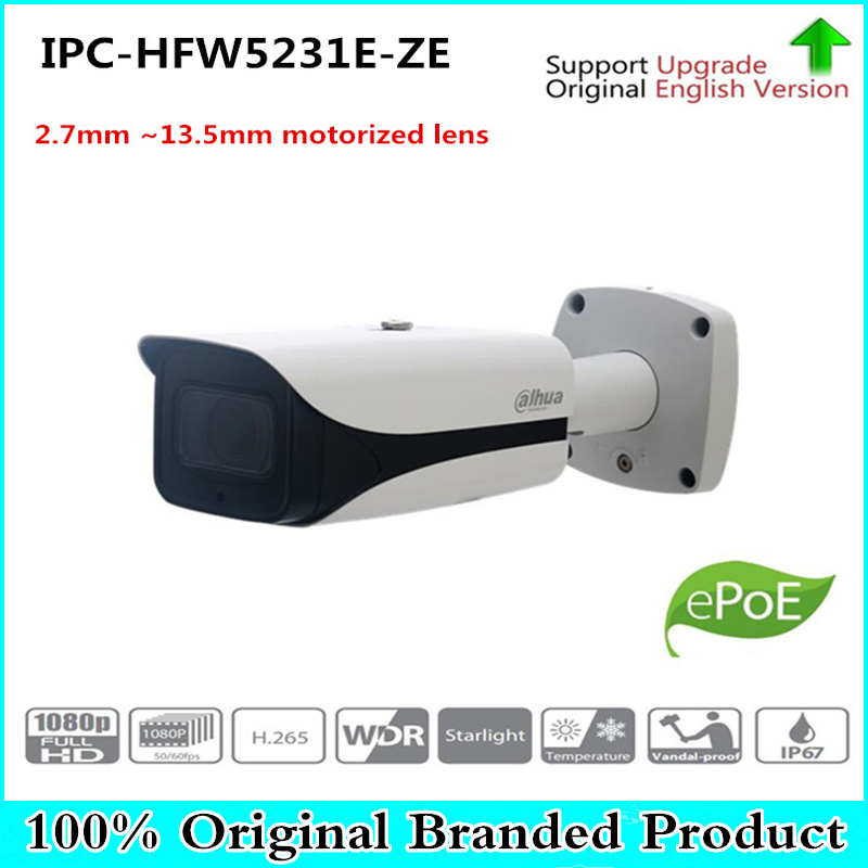 цена на DH Free Shipping Security IP Camera 2MP WDR IR Bullet Network Camera with POE without Logo IPC-HFW5231E-ZE