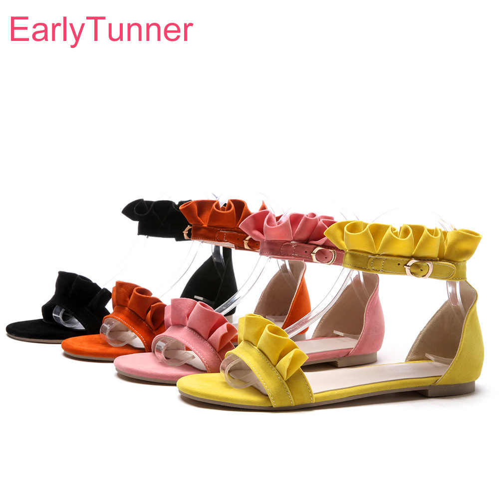 3c9eaeb7d Detail Feedback Questions about Hot Sales Brand New Sexy Orange Pink Women  Casual Sandals Yellow Lady Flats Beach Shoes EH821 Plus Big Small Size 10  31 45 ...
