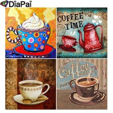 DIAPAI Diamond Painting 5D DIY Full Square/Round Drill Coffee cup text 3D Embroidery Cross Stitch Decor Gift
