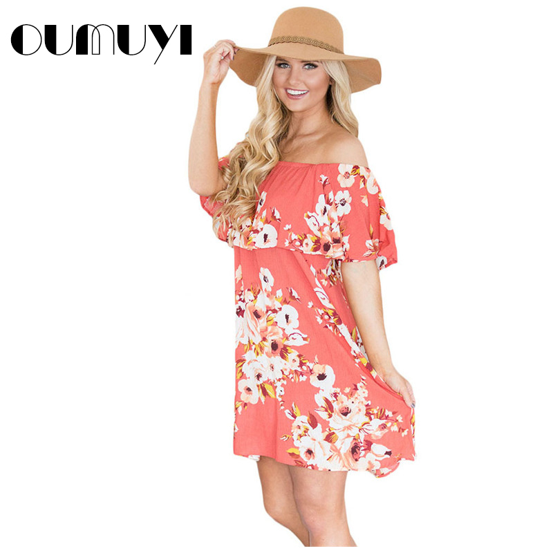 OUMUYI Fashion Boho Dresses 2017 Summer Women Beach Orange