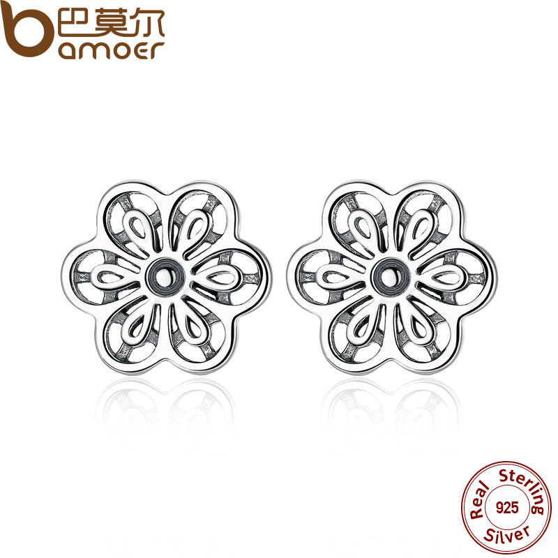 BAMOER 100% 925 Sterling Silver Floral Daisy Lace Flower Stud Earrings for Women Wedding Fine Jewelry PAS464 bamoer original 925 sterling silver dazzling daisy flower stud earrings for women jewelry pas434