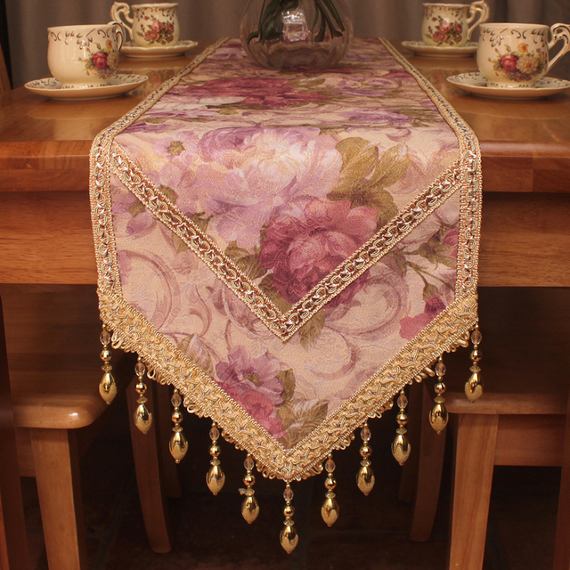 Vintage Luxury Peony Floral Elegant Table Runners For Wedding / Classic  Formal Dinning Table Runner Home