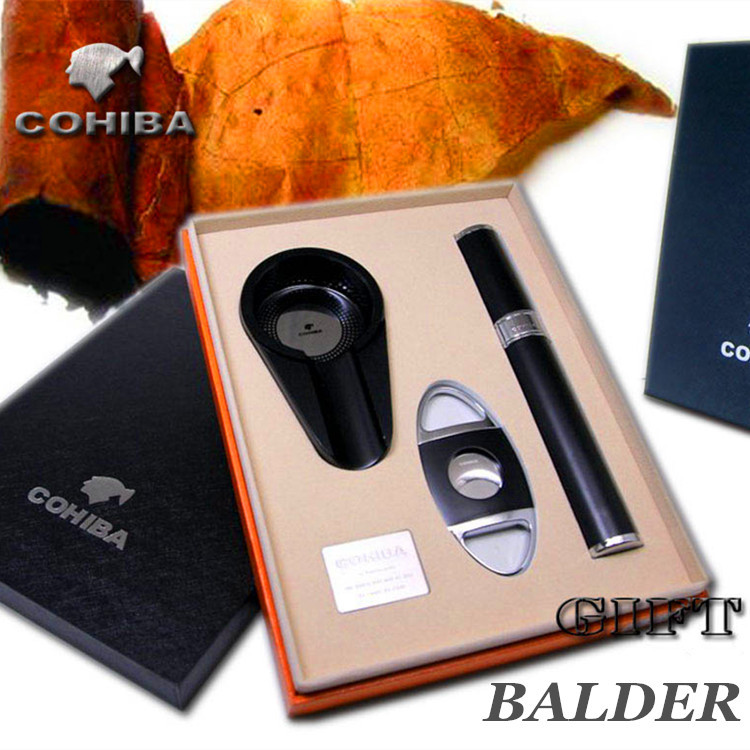 COHIBA cigar cutter Mini Metal Ashtray cigar tube gift box business gift set