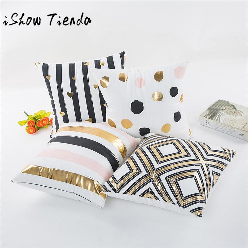 ISHOWTIENDA European Hot Super Soft Cotton Cushion Cover Dots Stripe Pillow Case For Sofa Car Decor Cushion Pillows coussin